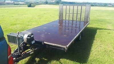 Bateson Tipping Flatbed Car Plant Machinery Trailer With Ramp Winch LED Lights