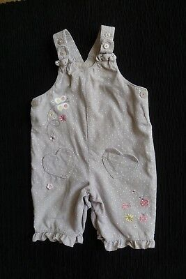 Baby clothes GIRL6-9m lightweight beige-grey/pink dungarees ladybirds SEE SHOP!