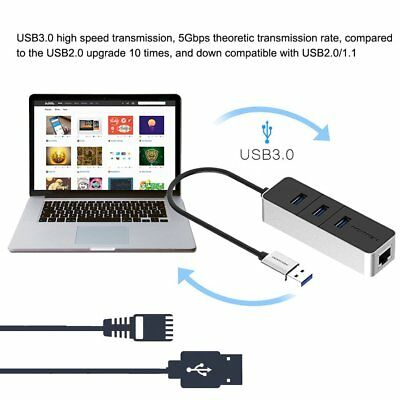 3 Port USB 3.0 5Gbps Compact Hub Adapter With Million Ethernet For PC Laptop~aY