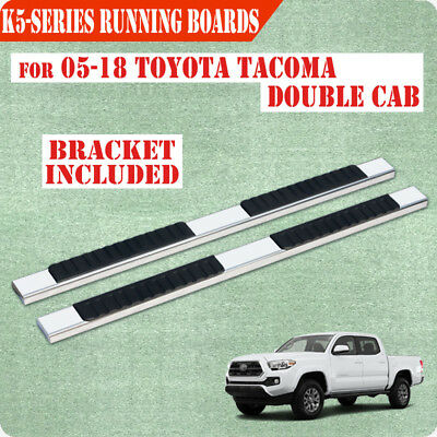 """Fit 05-18 Toyota Tacoma Double Cab 5"""" Running Board Nerf Bar Side Step SS Chrome"""