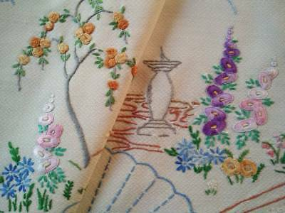 Sweet Cottage Garden -Hollyhocks/Rose/Sun-dial ~ Vintage Hand Embroidered Centre