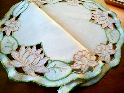 Gorgeous Water Lilies   ~ Vintage Hand Embroidered & Cut-work Centrepiece