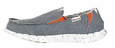 DUDE Shoes Farty Funk Steel Grey Canvas Slip On Shoes / Mule in UK6 to UK15