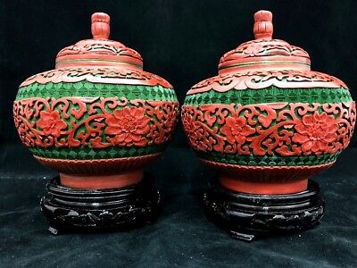 Very Rare And Unique Red and Green Chinese Cinnabar Lacquer Floral Jars/Handmade