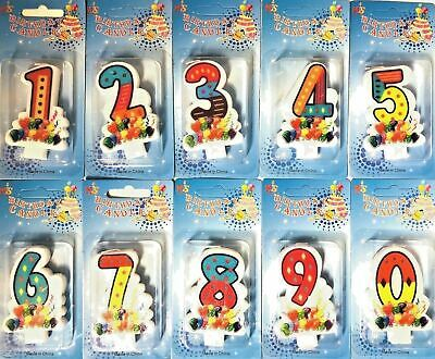 NUMBER CANDLES  Birthday Party Cake All Ages Boy Girl Multi Coloured Numeral UK