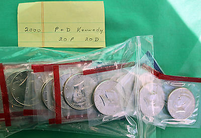 2000 Lot of 40 P and D Mint Kennedy Half Dollar BU Cellos UNC 50 Cent Coins