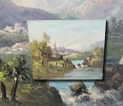 French Impressionist: Antique Oil Painting Alpine Landscape with Bach. C. Lion