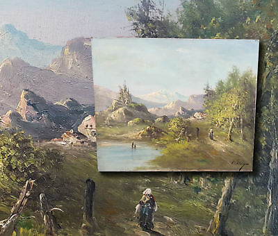 French Impressionist: Antique Oil Painting Alpine Landscape with Lake. C. Lion