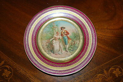 Royal Vienna Beehive Burgundy And Gold Jeweled Romantic Cabinet Wall Plate # 3