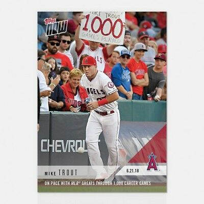 2018 Topps NOW MLB 352 Mike Trout On Pace with MLB Greats 1,000 Games