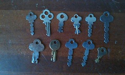 Vintage Flat Keys Lot of 11 Cabinet, Drawer,  Padlock, Chest
