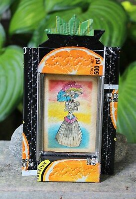 Day of the Dead Los Muertos Catrina Skeleton Recycled Tin Reliquary Niche Mexico
