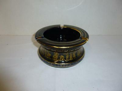 Vintage L. SPYROPOULOS Ashtray Hand Made Greece 24K Gold on Blue Porcelain