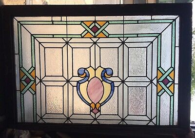 Old Architectural Arts & Crafts Colored Stained Glass Window From Mansion