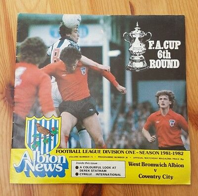 Vintage football programme. West Bromwich Albion v Coventry City. FA Cup. 1981/2