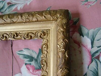Antique Wood Mirror Picture Frame 12 1/4 X 14 1/2 Ornate Gesso For 8 X 10