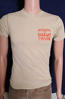 Vintage '80s The Biscuit House chest graphic soft beige Ebert t shirt XS