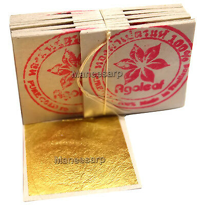 "100 pcs x 24K PURE GOLD FOIL , GOLD LEAF for artwork & crafts size 1.18"" x 1.18"""