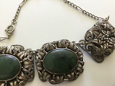 Vintage Art Deco Chinese Jade & Silver Filigree Necklace c1930's