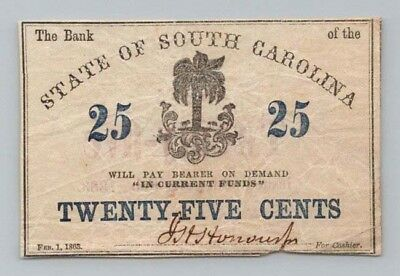 1863 25c BANK of the STATE of SOUTH CAROLINA Fractional Currency Note CIVIL WAR
