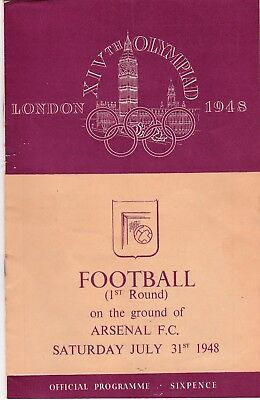 1948 Olympic FOOTBALL Programme. 1st Round at Arsenal. Great Britain v Holland