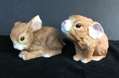 Lot of 2~Snuggle Babies~River Shore~1988~Rabbits~Bunnies~Bunny~Figurines~
