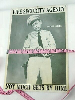 Barney Fife Security Agency Metal Tin Sign Vtg 1998 Andy Griffith Show Mayberry