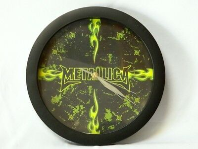 Metallica Wall Clock Heavy Metal Band Black Neon Green Flames Battery Operated