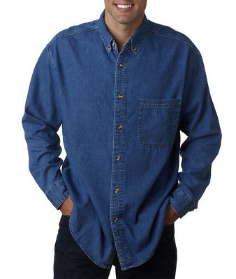 UltraClub Mens Tall Long-Sleeve Cypress Denim Pocket Solid Dress Shirt 8960T
