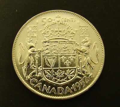 1952 CANADA 50 CENTS SILVER   AU  Canadian     Foreign Coin    50c