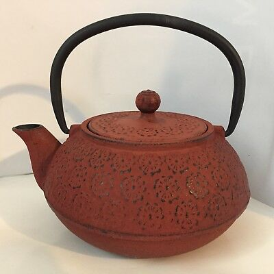 Teavana Red 24 oz Japanese Tetsubin Cast Iron Sakura Cherry Blossom Teapot