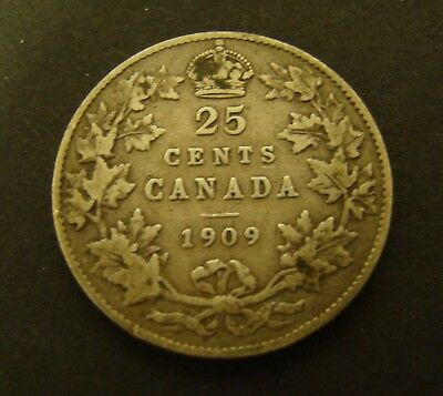 1909 CANADA 25 CENTS SILVER  F    Canadian     Foreign Coin    25c