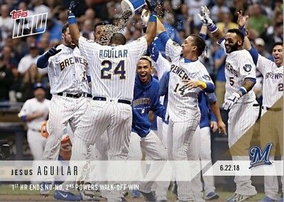 2018 Topps NOW MLB 356 Jesus Aguilar 1st HR Ends No-No, 2nd Powers Walk-Off Win