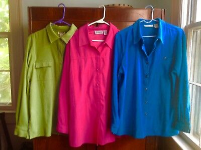Women's Faux Suede Blouses Lot Of Three Sizes XL 18 Lime Green Turqoise Pink
