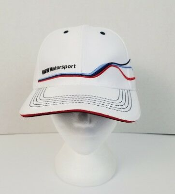 NWOT BMW Motorsports White One Size Adjustable Strap Back Ball Cap Powered by M
