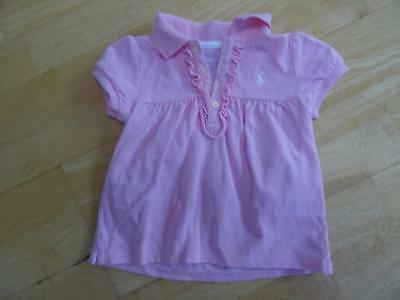 RALPH LAUREN baby girls pink polo t shirt AGE 9-12 MONTHS AUTHENTIC EXCELLENT