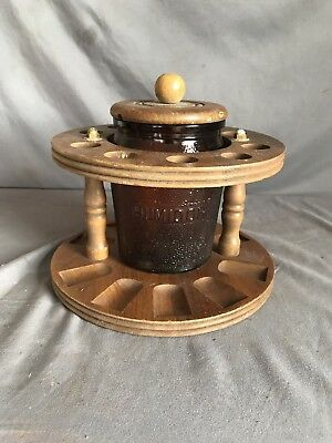 Vintage Wooden Pipe Stand With Glass Humidor