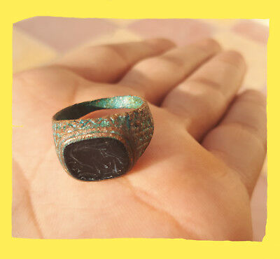 Ancient antique Roman legionary ring bronze artifact rare type authentic.*roman*