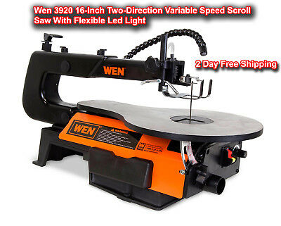 Wen 3920 16 Inch Two-Direction Variable Speed Scroll Saw With Flexible Led Light
