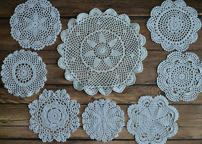 8 Crochet White Round Doilies Lot in bulk Country Wedding Coasters Table Runners