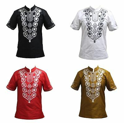 African Clothing for Embroidered Dashiki Casual Short Sleeve T-Shirt Men Geometr