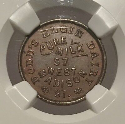 1861 Chicago IL150N-4a R-6 NGC AU-58 BN - Dodd's Elgin Dairy - Extremely Scarce
