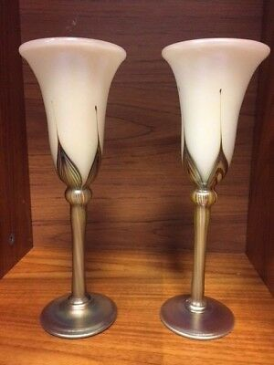 """pair of Carl Radke Phoenix Studios """"pulled feather"""" wine goblets signed stickers"""