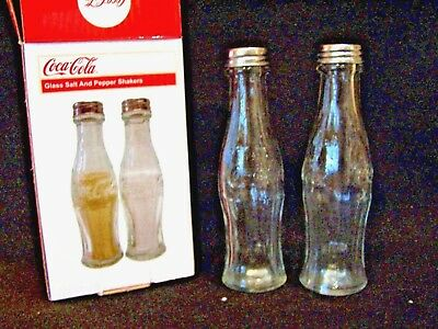 New Set of Coca Cola Clear Glass Bottle Salt and Pepper Shakers