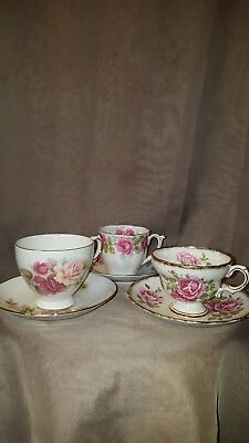 Lot of 3 Vintage English Tea Cups and Saucers. Rose prints. Rosina, Bell, etc.