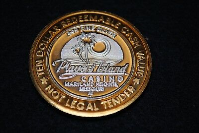 Limited Edition Ten Dollar Gaming Token Players Island Casino .999 Fine Silver