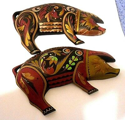 2 Vintage Marrano Hand Carved&painted Wild Boars/pigs/iridescent Inlay/spain