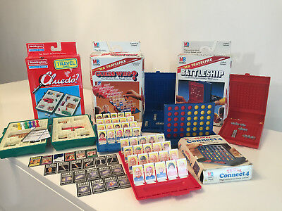 Job Lot 4 Vintage Travel Games - Connect 4, Cluedo, Guess Who & Battleships