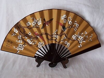 Vintage Decorative Birds and Blossoms Fan with Stand Made in Taiwan