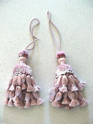 Set Of 2 French Pink  Tassel Pompons Home Decoration New
